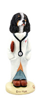 Cavalier King Charles Spaniel Black & White Doctor Doogie Collectable Figurine