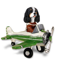 Cavalier King Charles Spaniel Black & White Airplane Doogie Collectable Figurine