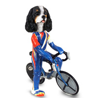 Cavalier King Charles Spaniel Black & White Bicycle Doogie Collectable Figurine