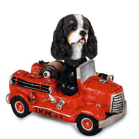 Cavalier King Charles Spaniel Black & White Fire Engine Doogie Collectable Figurine
