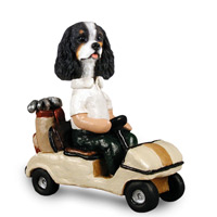 Cavalier King Charles Spaniel Black & White Golf Cart Doogie Collectable Figurine