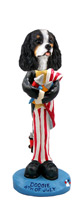 Cavalier King Charles Spaniel Black & White 4th of July Doogie Collectable Figurine