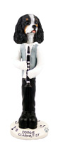 Cavalier King Charles Spaniel Black & White Clarinetist Doogie Collectable Figurine