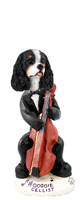 Cavalier King Charles Spaniel Black & White Cellist Doogie Collectable Figurine
