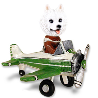American Eskimo Airplane Doogie Collectable Figurine