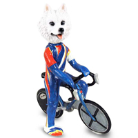American Eskimo Bicycle Doogie Collectable Figurine