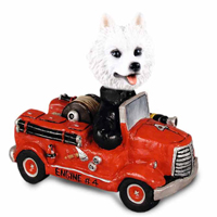American Eskimo Fire Engine Doogie Collectable Figurine