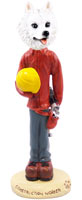 American Eskimo Construction Worker Doogie Collectable Figurine