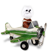 American Eskimo Miniature Airplane Doogie Collectable Figurine