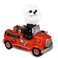 American Eskimo Miniature Fire Engine Doogie Collectable Figurine