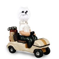 American Eskimo Miniature Golf Cart Doogie Collectable Figurine