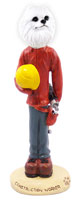 American Eskimo Miniature Construction Worker Doogie Collectable Figurine
