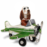 English Setter Orange Belton Airplane Doogie Collectable Figurine