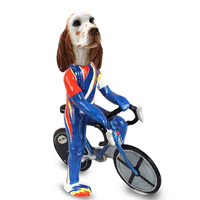 English Setter Orange Belton Bicycle Doogie Collectable Figurine
