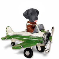 Flat Coated Retriever Airplane Doogie Collectable Figurine