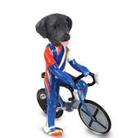 Flat Coated Retriever Bicycle Doogie Collectable Figurine