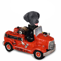 Flat Coated Retriever Fire Engine Doogie Collectable Figurine