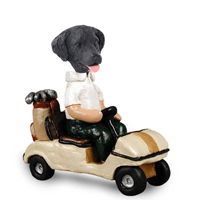 Flat Coated Retriever Golf Cart Doogie Collectable Figurine