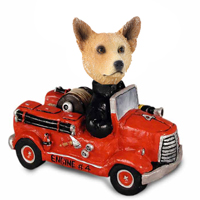 Australian Cattle Dog, RED Fire Engine Doogie Collectable Figurine