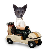 Australian Cattle Blue Dog Golf Cart Doogie Collectable Figurine