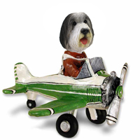 Bearded Collie Airplane Doogie Collectable Figurine