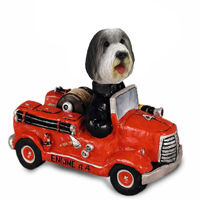 Bearded Collie Fire Engine Doogie Collectable Figurine