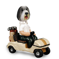 Bearded Collie Golf Cart Doogie Collectable Figurine