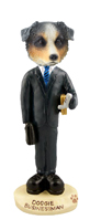 Australian Shepherd, BLUE Businessman Doogie Collectable Figurine