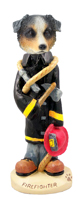 Australian Shepherd, BLUE Fireman Doogie Collectable Figurine