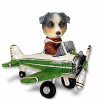 Australian Shepherd, BLUE Airplane Doogie Collectable Figurine