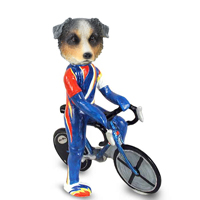 Australian Shepherd, BLUE Bicycle Doogie Collectable Figurine