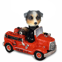 Australian Shepherd, BLUE Fire Engine Doogie Collectable Figurine