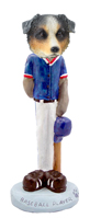 Australian Shepherd, BLUE Baseball Doogie Collectable Figurine