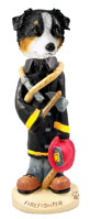 Australian Shepherd Tricolor Fireman Doogie Collectable Figurine
