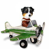Australian Shepherd Tricolor Airplane Doogie Collectable Figurine