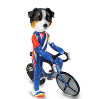 Australian Shepherd Tricolor Bicycle Doogie Collectable Figurine