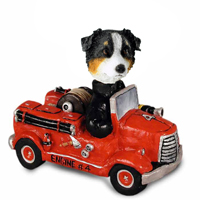 Australian Shepherd Tricolor Fire Engine Doogie Collectable Figurine