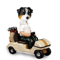 Australian Shepherd Tricolor Golf Cart Doogie Collectable Figurine