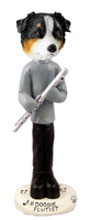 Australian Shepherd Tricolor Flutist Doogie Collectable Figurine