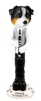 Australian Shepherd Tricolor Clarinetist Doogie Collectable Figurine
