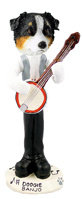 Australian Shepherd Tricolor Banjo Doogie Collectable Figurine