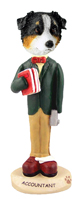 Australian Shepherd Tricolor Accountant Doogie Collectable Figurine