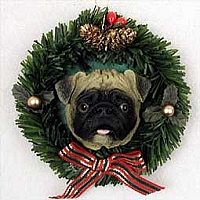 Pug Fawn Wreath Ornament