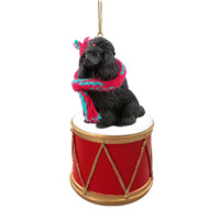 Poodle Black Drum Ornament