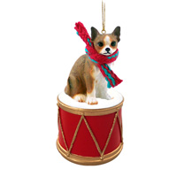 Chihuahua Brindle & White Drum Ornament