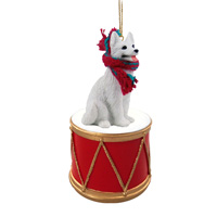 German Shepherd White Drum Ornament