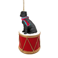 Great Dane Black w/Uncropped Ears Drum Ornament
