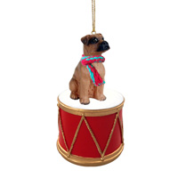 Boxer Tawny w/Uncropped Ears Drum Ornament