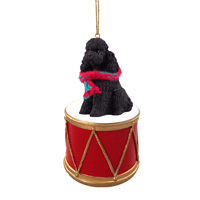 Poodle Black w/Sport Cut Drum Ornament