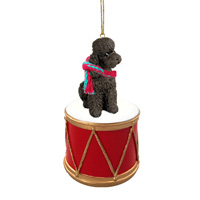 Poodle Chocolate w/Sport Cut Drum Ornament